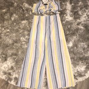 2 pc stripe linen pant and crop set, new with tags